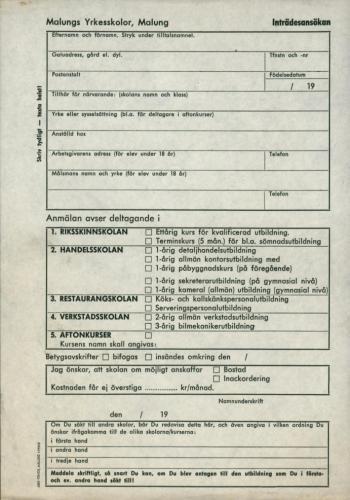 1965 Malungs yrkersskolor ansokan